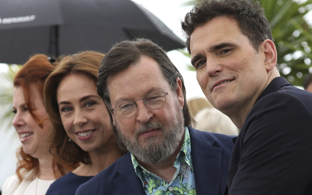 Actresses Siobhan Fallon Hogan, from left, Sofie Grabol, director Lars von Trier and actor Matt Dillon pose for photographers during a photo call for