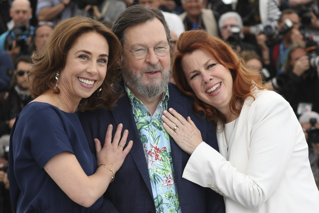 Actress Sofie Grabol, from left, director Lars von Trier and actress Siobhan Fallon Hogan pose for photographers during a photo call for the film 'The
