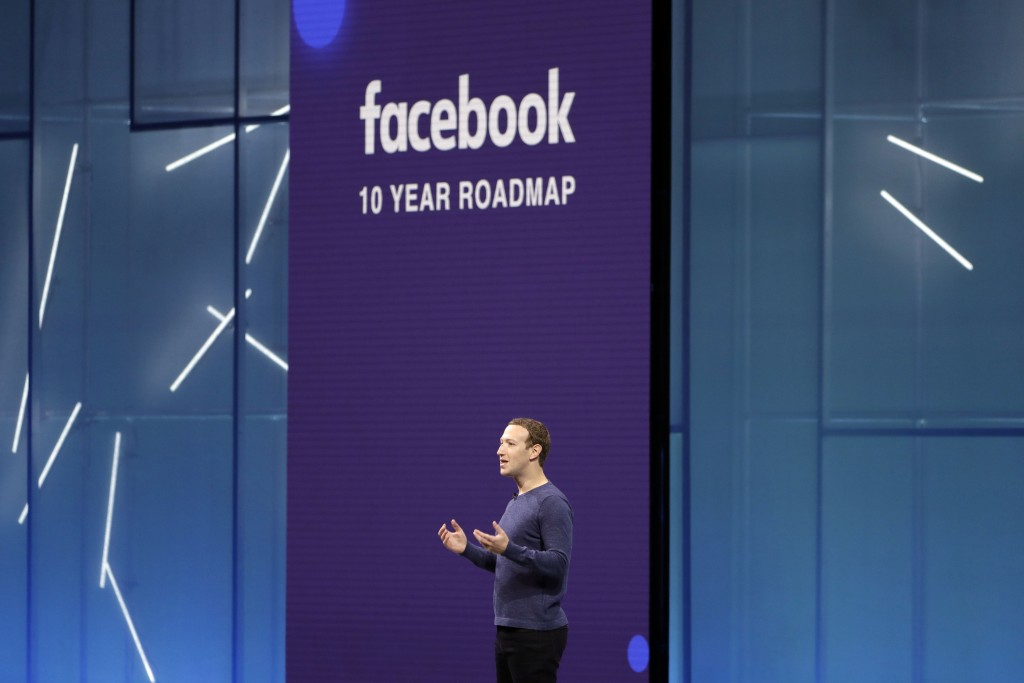 FILE- In this May 1, 2018, file photo, Facebook CEO Mark Zuckerberg makes the keynote speech at F8, Facebook's developer conference, in San Jose, Cali...