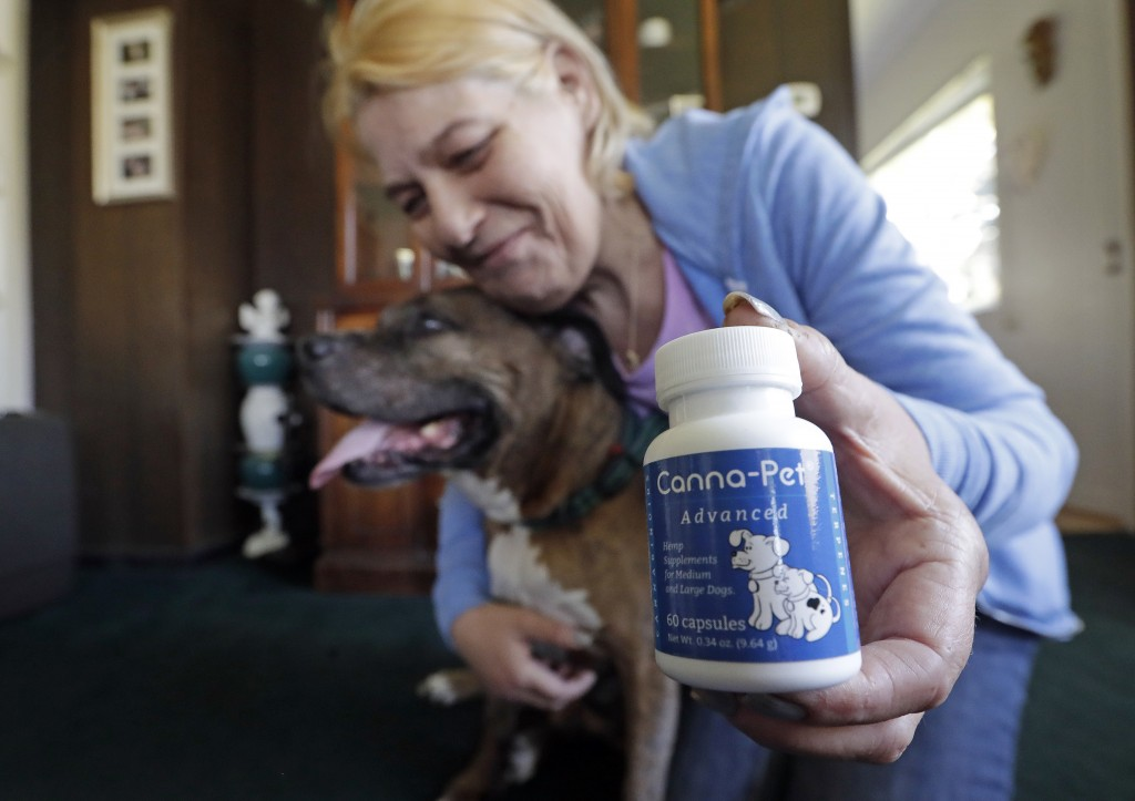 In this photo taken Monday, April 23, 2018, Karen Rhodes poses for a photo with her elder dog Ransom as she displays the hemp-derived CBD supplements ...