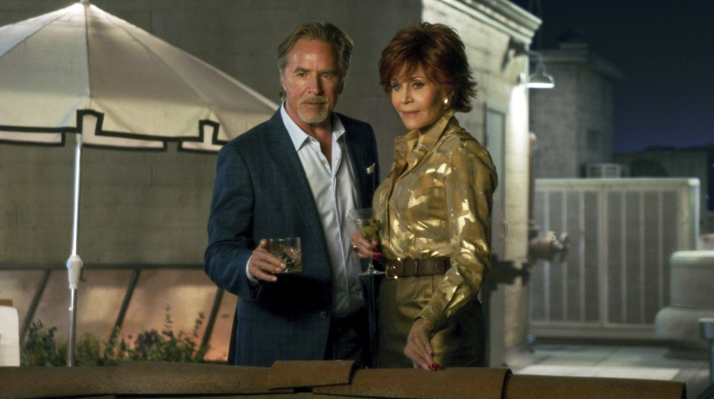"""This image released by Paramount Pictures shows  Don Johnson, left, and Jane Fonda in a scene from """"Book Club."""" (Paramount Pictures via AP)"""