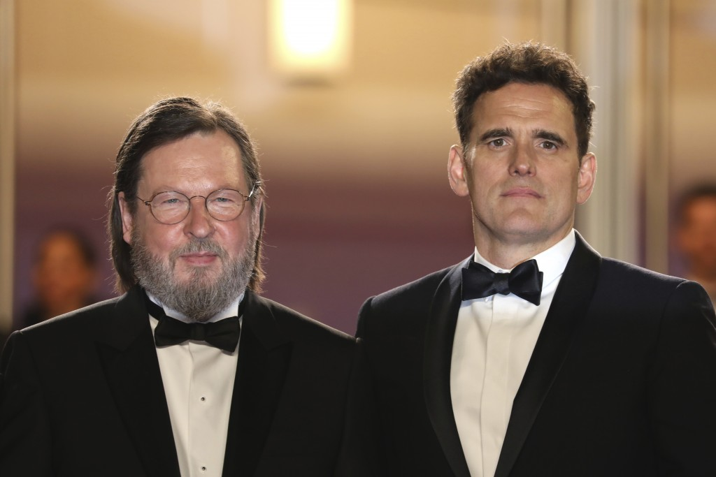 Director Lars von Trier, left, and actor Matt Dillon pose for photographers upon arrival at the premiere of the film 'The House That Jack Built' at th