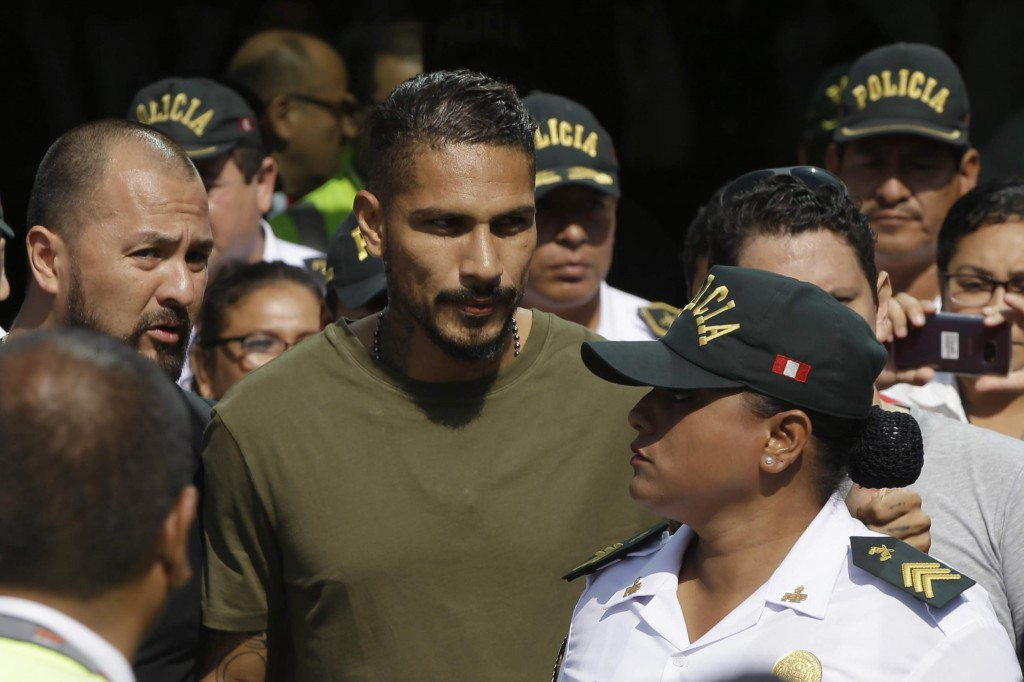 Peru captain Paolo Guerrero arrives in Lima, Peru, Tuesday, May 15, 2018. The global footballers' union wants FIFA's help to review anti-doping rules