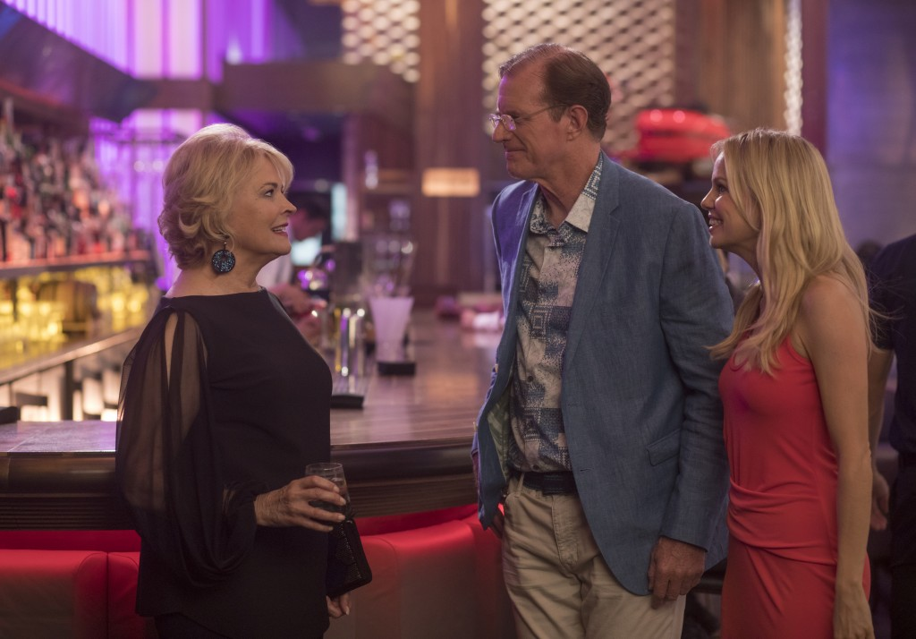 """This image released by Paramount Pictures shows Candice Bergen, from left, Ed Begley Jr. and Mircea Monroe in a scene from """"Book Club."""" (Melinda Sue G"""