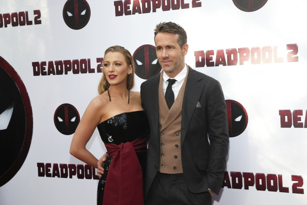 "Actors Blake Lively, left, and Ryan Reynolds attend a special screening of ""Deadpool 2"" at AMC Loews Lincoln Square on Monday, May 14, 2018, in New Yo"