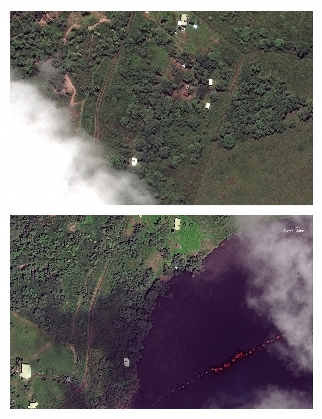 This combination of satellite images provided by DigitalGlobe shows an area by the Kilauea volcano near Pahoa, Hawaii, on May 24, 2017, top, and May 1...