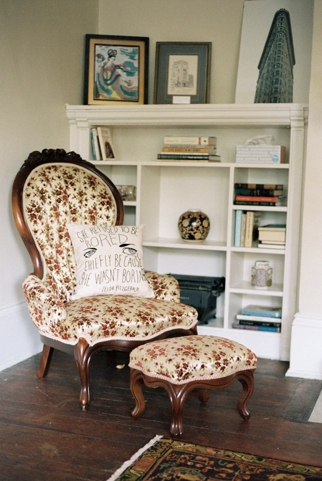 This undated photo provided by the F. Scott and Zelda Fitzgerald Museum in Montgomery, Ala., shows a pillow on a chair embroidered with a quote from Z...