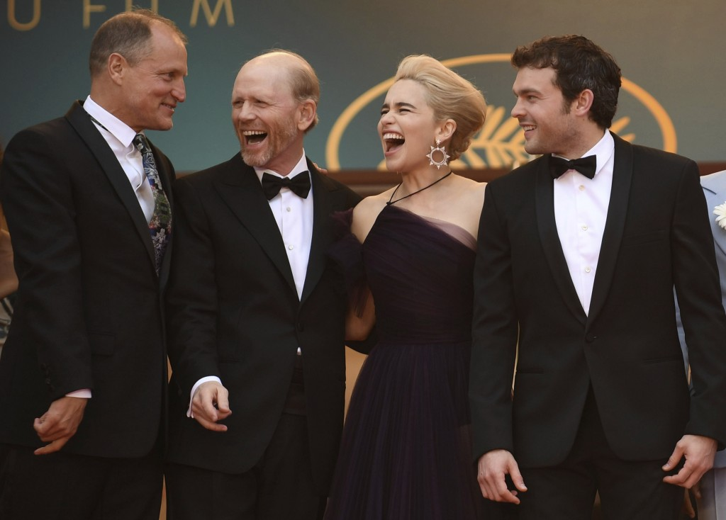 Actor Woody Harrelson, from left, director Ron Howard, actress Emilia Clarke and actor Alden Ehrenreich pose for photographers upon arrival at the pre