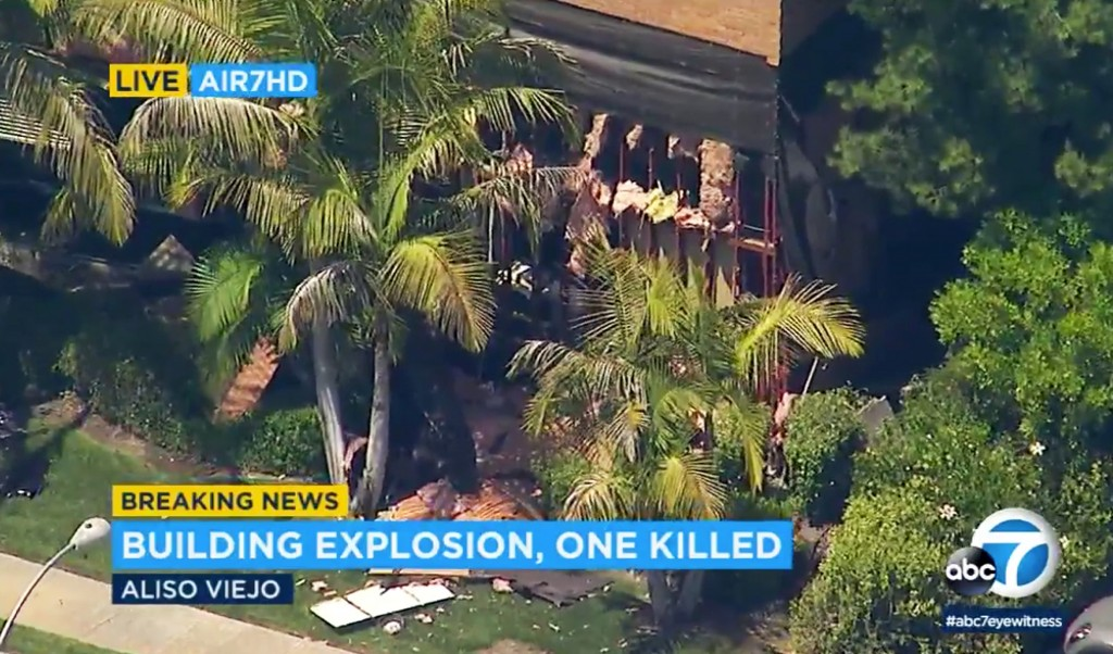This photo taken from video provided by KABC-TV shows a building after an explosion rocked it in Aliso Viejo, Calif., Tuesday afternoon, May 15, 2018.