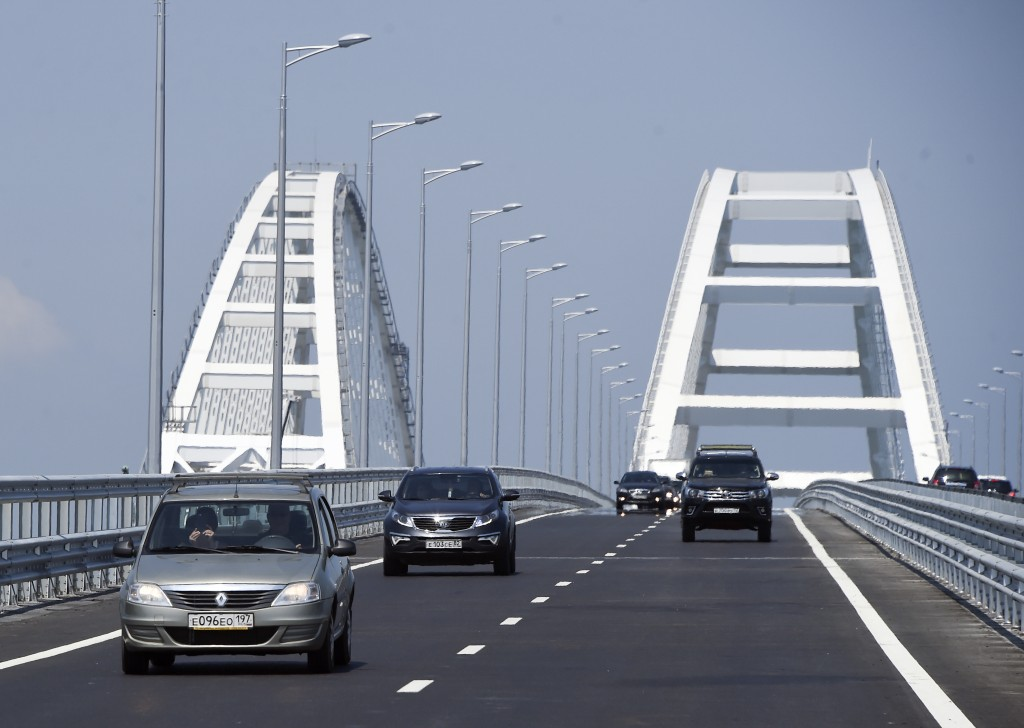 A view of the new bridge across the Kerch Strait linking Russia's Taman Peninsula with Crimea, after regular traffic began, in Kerch, Crimea, Wednesda