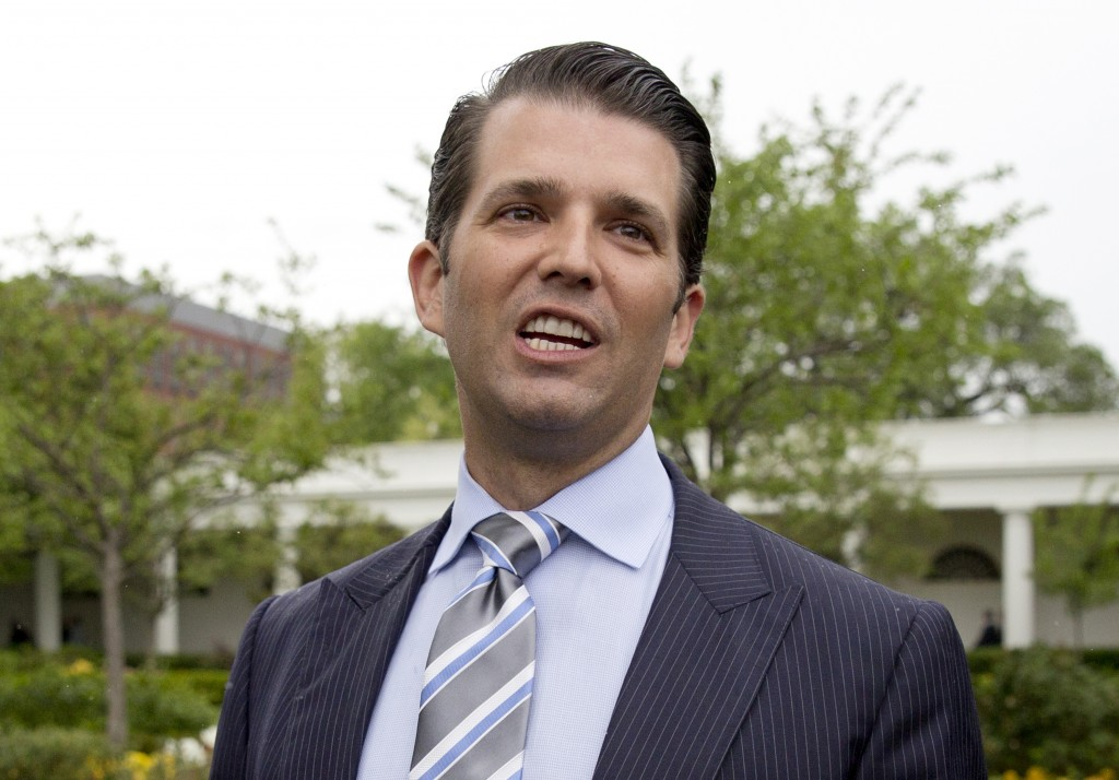 In this April 17, 2017 file photo, Donald Trump Jr., the son of President Donald Trump, speaks to media on the South Lawn of the White House in Washin