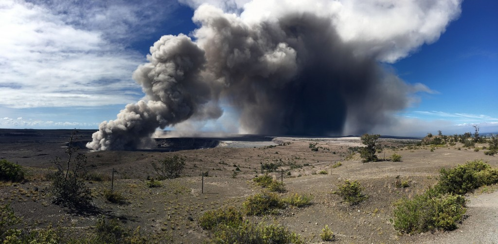 This photo from the U.S. Geological Survey shows activity at Halema'uma'u Crater that has increased to include the nearly continuous emission of ash w...