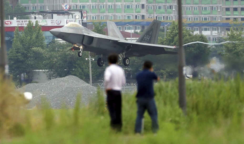 In this Wednesday, May 16, 2018, file photo, a U.S. F-22 Raptor stealth fighter jet lands as South Korea and the United States conduct the Max Thunder