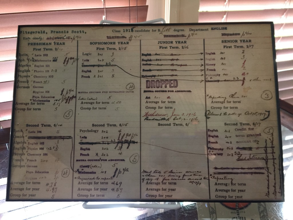 This April 28, 2018 photo shows a copy of novelist F. Scott Fitzgerald's transcript from Princeton University, on display at the F. Scott and Zelda Fi...