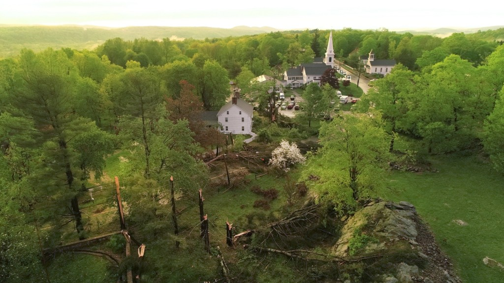 This aerial view shows storm damage to Brookfield, Conn., on Tuesday, May 15, 2018. Residents in the Northeast cleaned up Wednesday, a day after power