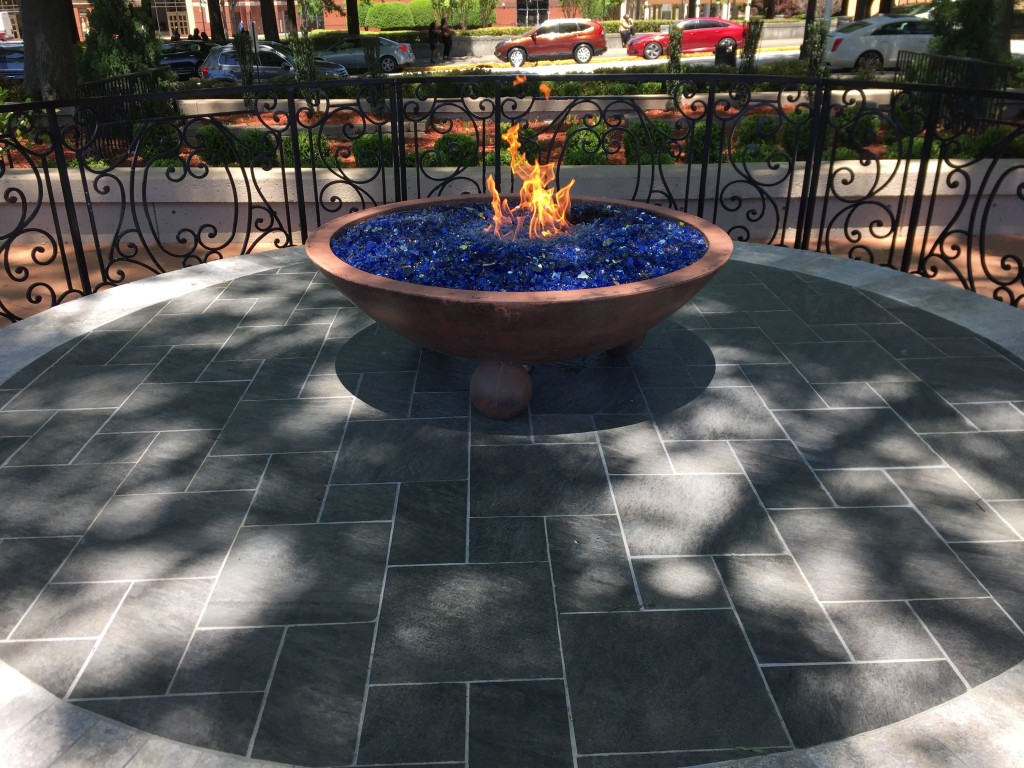 This April 29, 2018 photo shows the eternal flame located across from the tomb where Martin Luther King, Jr., and his wife Coretta Scott King are inte