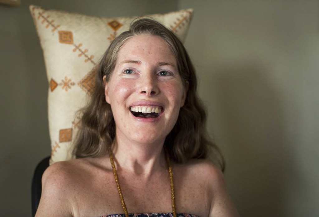 "FILE - In this Sunday, July 24, 2016, file photo provided by Niels Alpert, Betsy Davis smiles during her ""Right To Die Party"" in Ojai, Calif. Davis th"