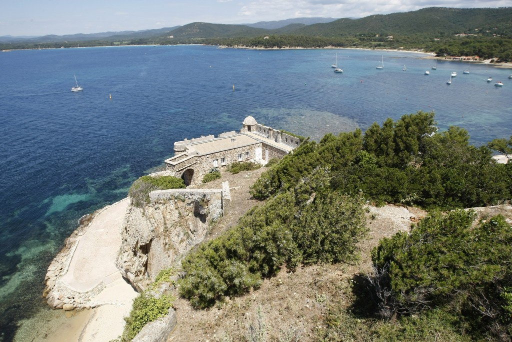 FILE - This July 1, 2014 file photo shows a view of the Mediterranean sea from the Fort de Bregancon, which has been the holiday retreat of French pre