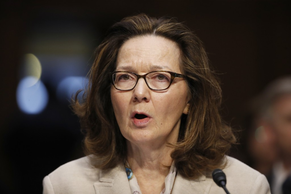 FILE - In this May 9, 2018, file photo, CIA nominee Gina Haspel testifies during a confirmation hearing of the Senate Intelligence Committee on Capito