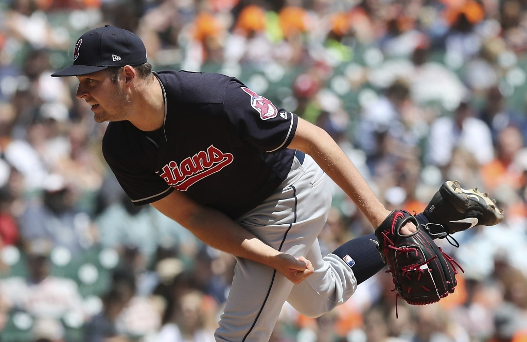 Cleveland Indians starting pitcher Trevor Bauer throws during the third inning of a baseball game against the Detroit Tigers, Wednesday, May 16, 2018,