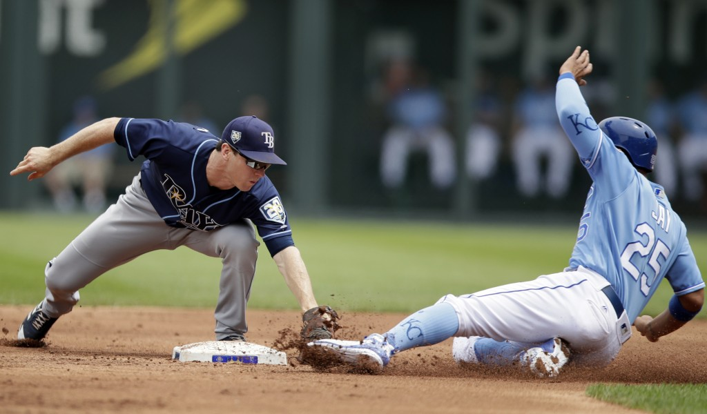 Tampa Bay Rays second baseman Joey Wendle, left, tags out Kansas City Royals' Jon Jay during the first inning of a baseball game at Kauffman Stadium i