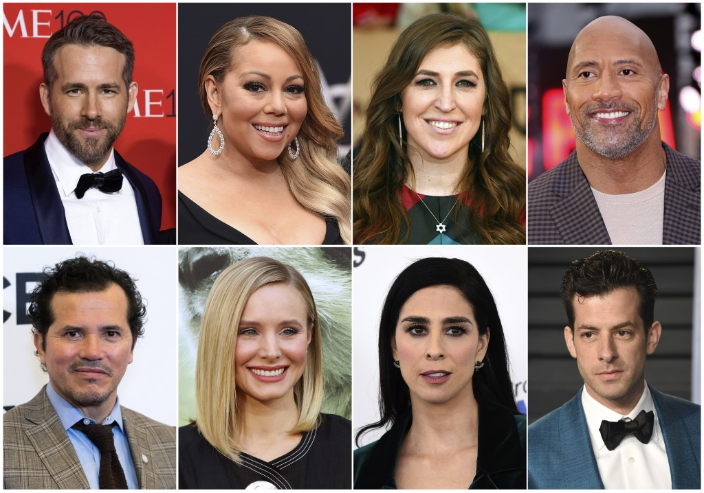 This combination photo shows, top row from left, Ryan Reynolds, Mariah Carey, Mayim Bialik and Dwayne Johnson, and bottom row from left, John Leguizam