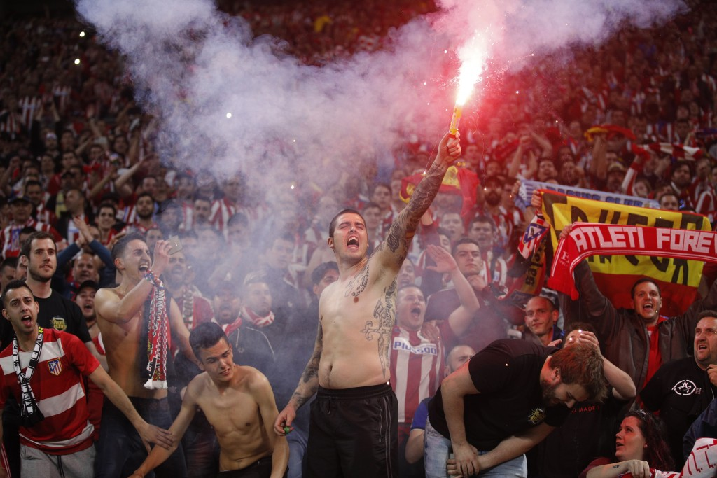 Atletico fans celebrate the 3-0 win of their team after the Europa League Final soccer match between Marseille and Atletico Madrid at the Stade de Lyo