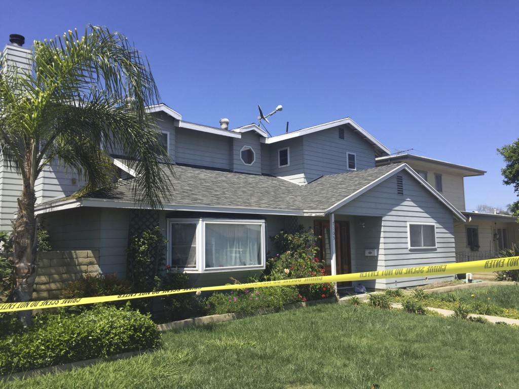 The home of a homicide victim, Ildiko Krajnyak, is seen after it was searched by police overnight in Trabuco Canyon, Calif., Wednesday, May 16, 2018.