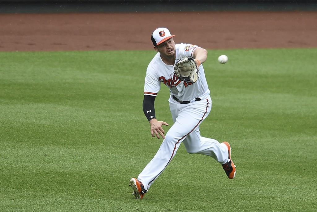 Baltimore Orioles left fielder Trey Mancini makes a running catch on a ball hit by Philadelphia Phllies' Rys Hoskins in the third inning of baseball g