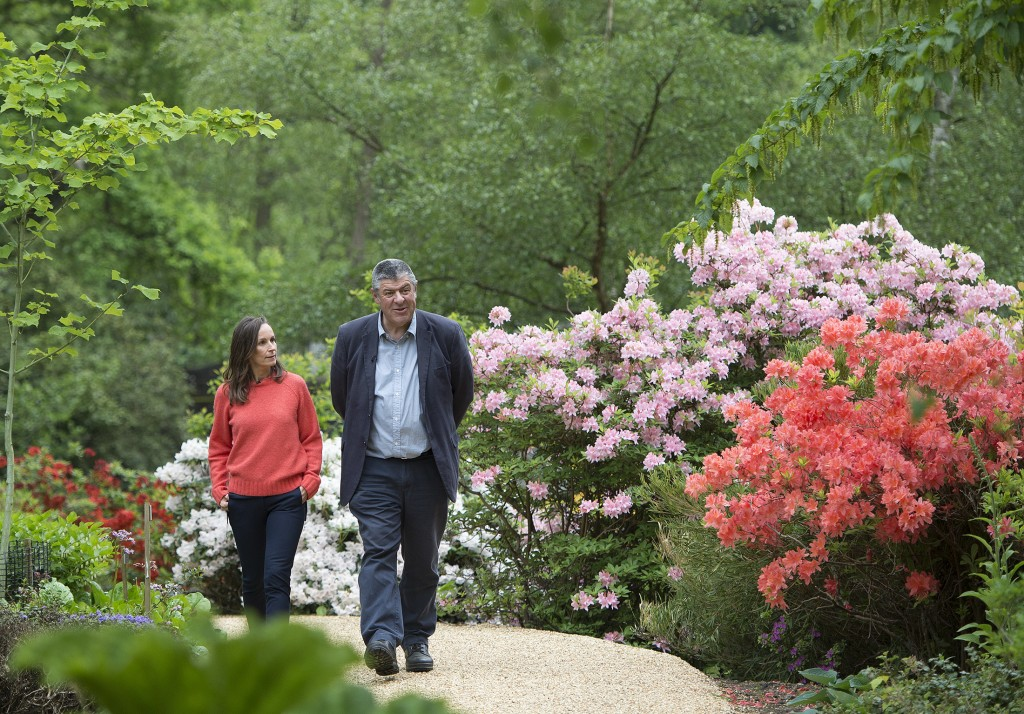 Floral designer Philippa Craddock, and Keeper of the Gardens John Anderson are photographed in the Savill Garden, in Windsor Great Park, Windsor, Engl