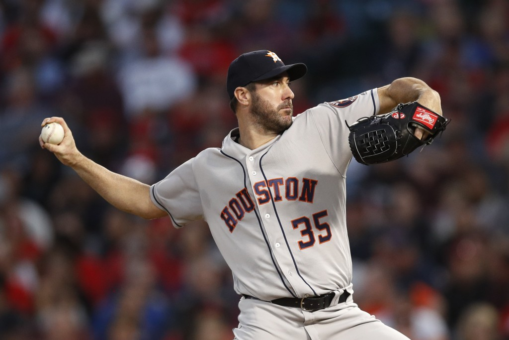 Houston Astros starting pitcher Justin Verlander throws to a Los Angeles Angels batter during the fourth inning of a baseball game Wednesday, May 16, ...