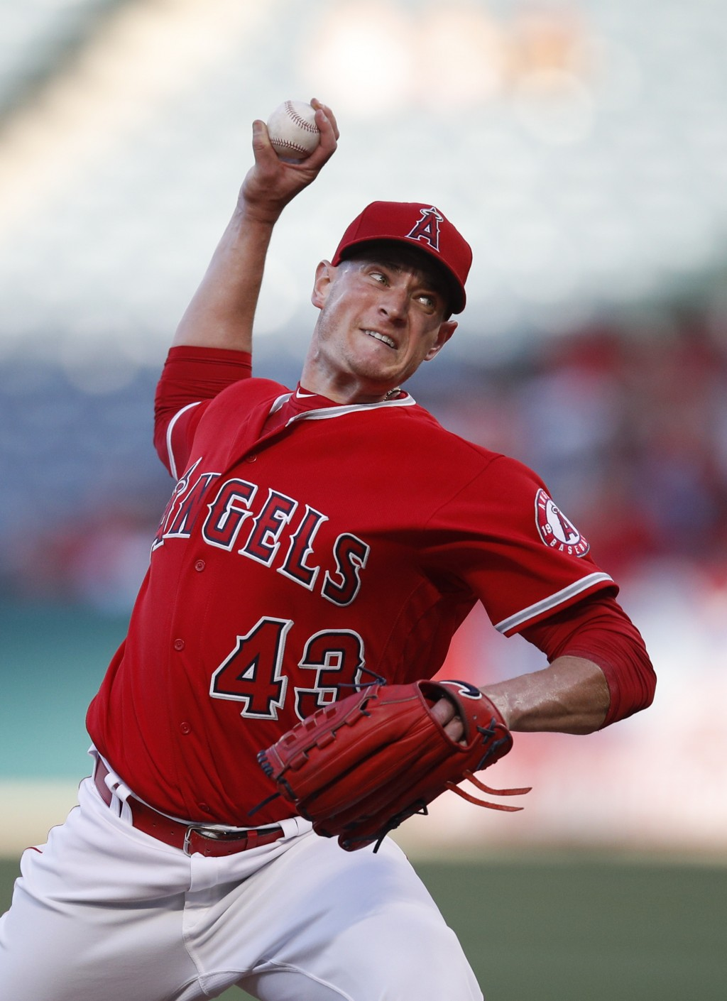 Los Angeles Angels starting pitcher Garrett Richards throws to a Houston Astros batter during the first inning of a baseball game Wednesday, May 16, 2