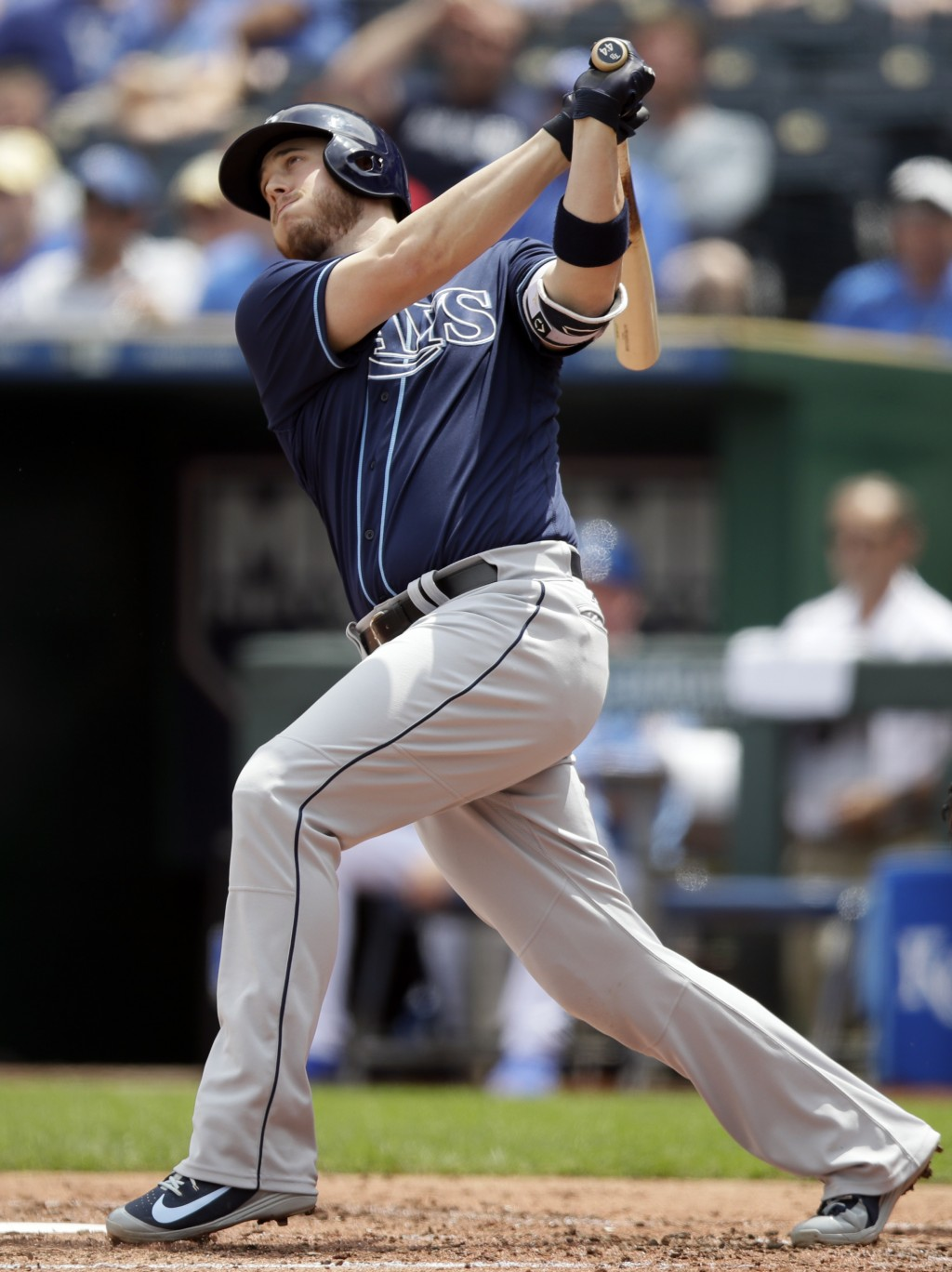 Tampa Bay Rays designated hitter C.J. Cron hits a solo home run off Kansas City Royals starting pitcher Jason Hammel during the third inning of a base