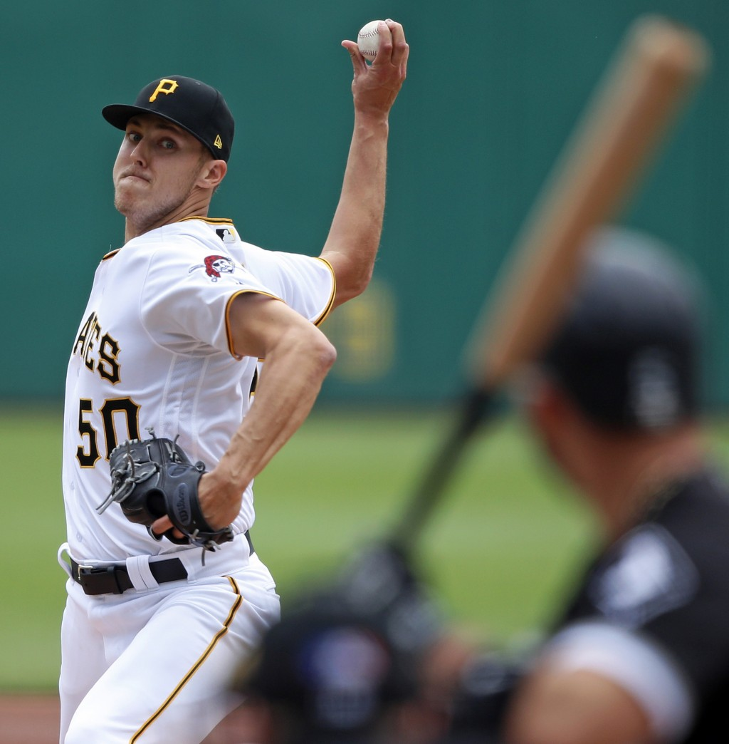 Pittsburgh Pirates starting pitcher Jameson Taillon delivers in the first inning of a baseball game against the Chicago White Sox in Pittsburgh, Wedne