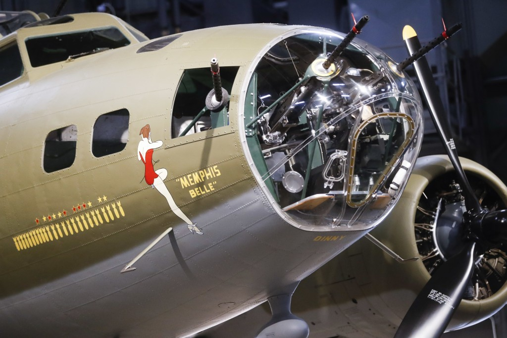 """The Memphis Belle, a Boeing B-17 """"Flying Fortress,"""" is displayed for private viewing at the National Museum of the U.S. Air Force, Wednesday, May 16,"""