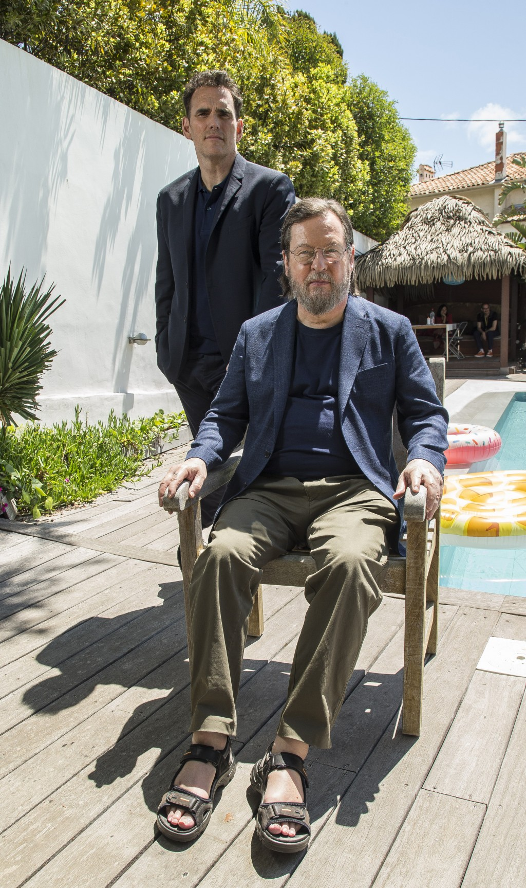 Actor Matt Dillon, left, and director Lars von Trier pose for portrait photographs for the film 'The House That Jack Built', at the 71st international