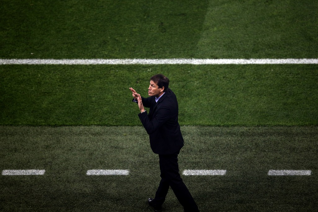 Marseille's coach Rudi Garcia reacts during the Europa League Final soccer match between Marseille and Atletico Madrid at the Stade de Lyon outside Ly
