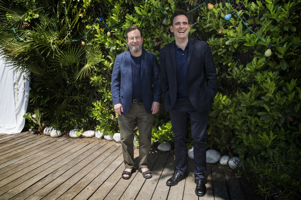 Director Lars von Trier, left, and actor Matt Dillon pose for portrait photographs for the film 'The House That Jack Built', at the 71st international