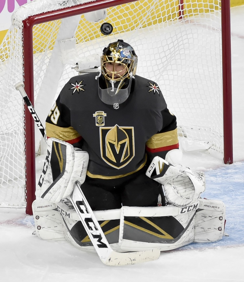 Vegas Golden Knights goaltender Marc-Andre Fleury makes a save against the Winnipeg Jets during the second period of Game 3 of the NHL hockey playoffs