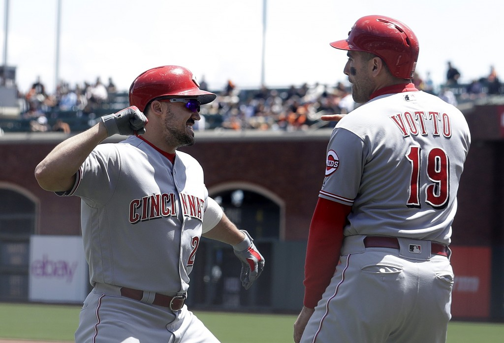 Cincinnati Reds' Adam Duvall, left, is congratulated by Joey Votto after hitting a three-run home run that scored Votto and Scooter Gennett against th