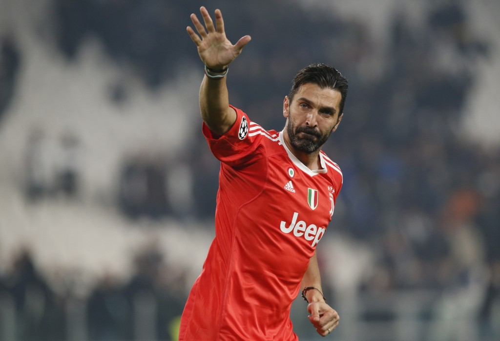 FILE - In this Wednesday, Nov. 22, 2017 filer, Juventus goalkeeper Gianluigi Buffon waves to fans at the end of the Champions League group D soccer ma