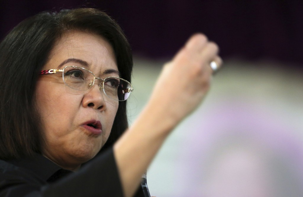 Ousted Philippine Supreme Court Chief Justice Maria Lourdes Sereno gestures during a forum at the Integrated Bar of the Philippines in Pasig, metropol
