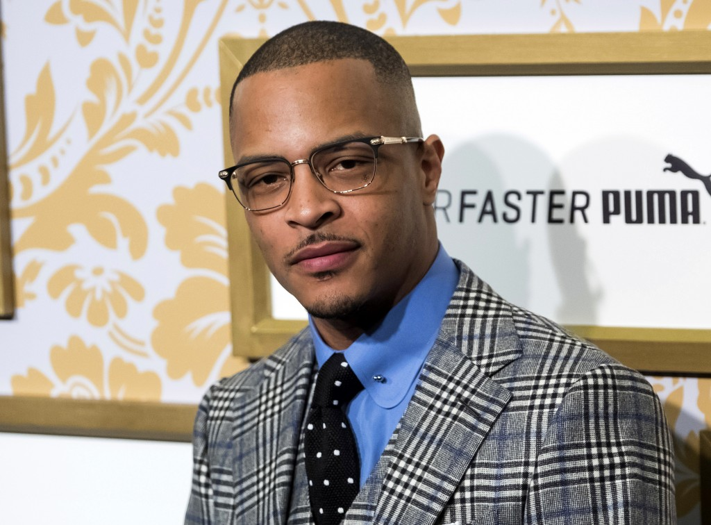 FILE - In this Jan. 27, 2018 file photo, T.I. attends the Roc Nation pre-Grammy brunch in New York. Police say rapper T.I. has been arrested for disor