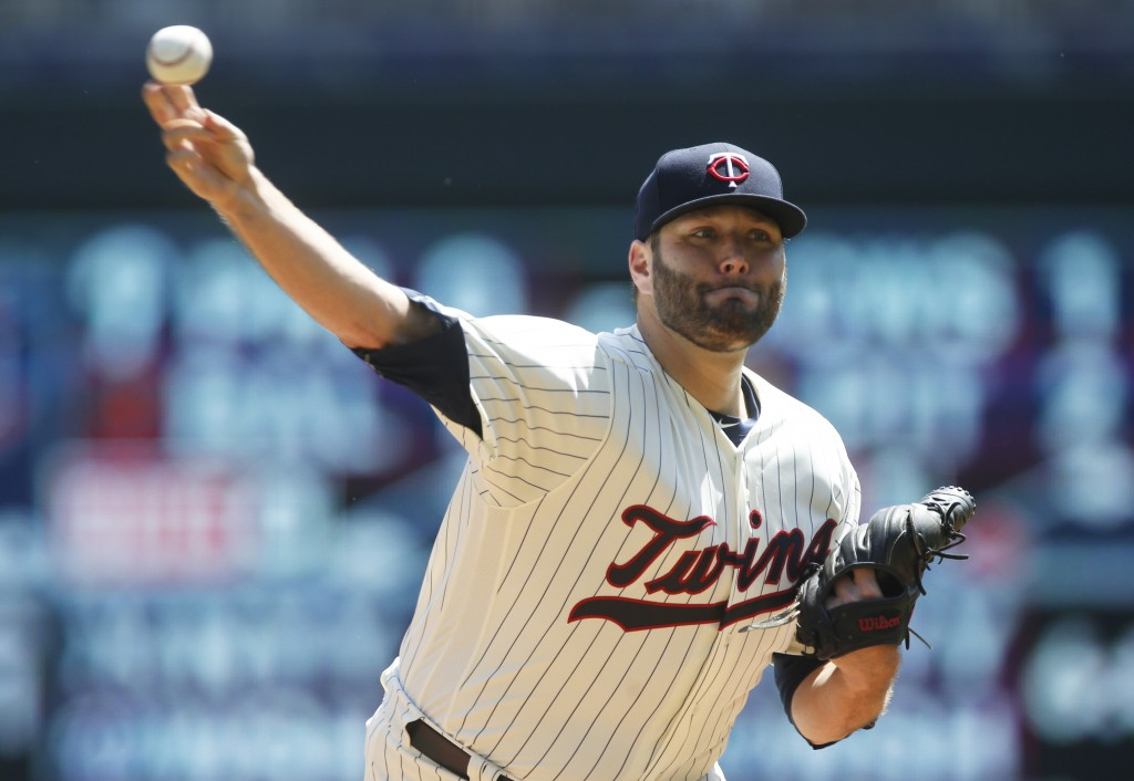 Minnesota Twins pitcher Lance Lynn throws against the St. Louis Cardinals in the first inning of a baseball game Wednesday, May 16, 2018, in Minneapol...