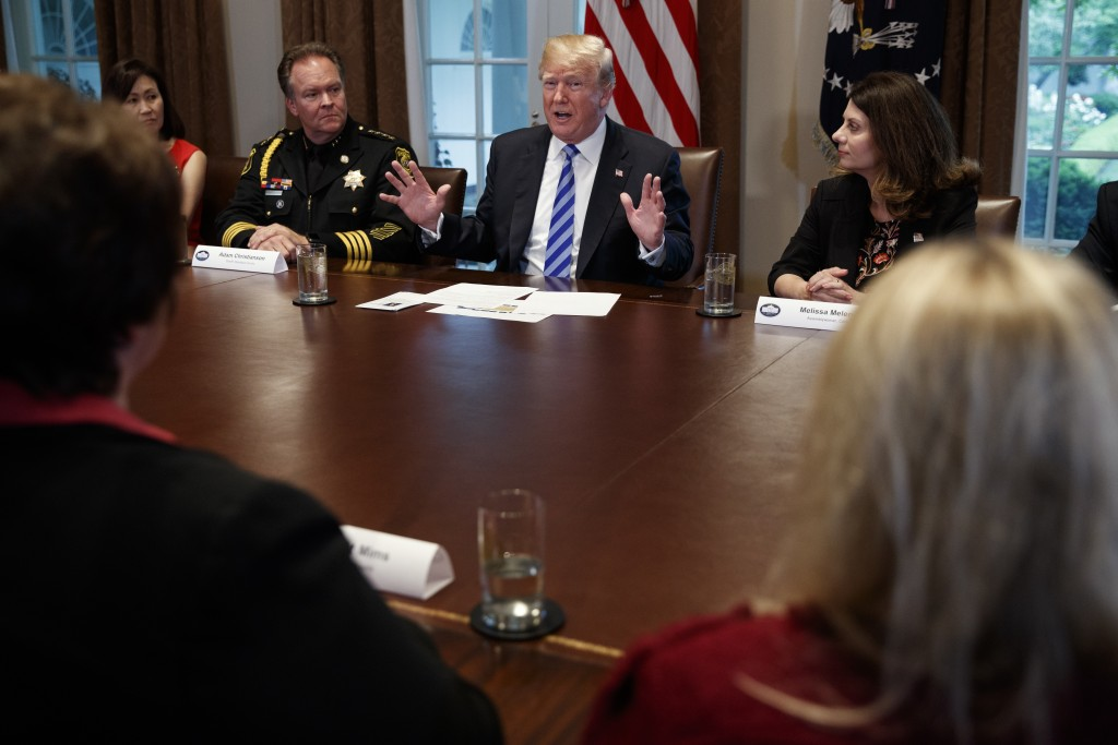 President Donald Trump speaks during a roundtable on immigration policy in California, in the Cabinet Room of the White House, Wednesday, May 16, 2018...