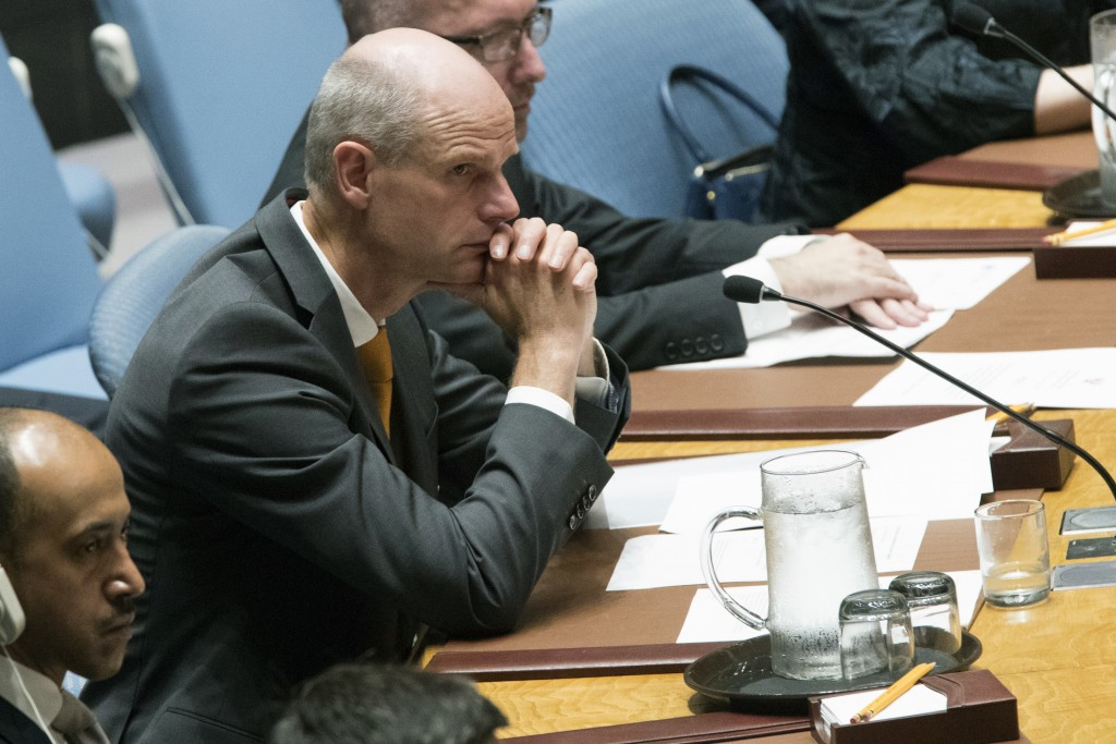 Dutch Foreign Minister Stef Blok participates in a Security Council meeting on international peace and security, Thursday, May 17, 2018 at United Nati