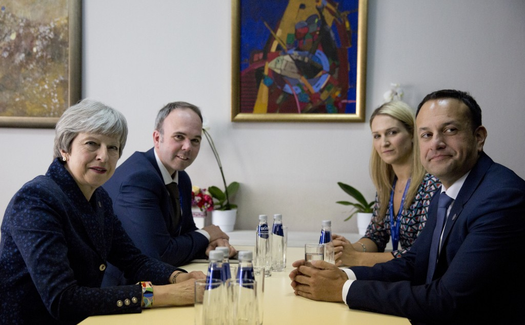 Irish Prime Minister Leo Varadkar, right, meets with British Prime Minister Theresa May, left, on the sidelines of an EU and Western Balkan heads of s