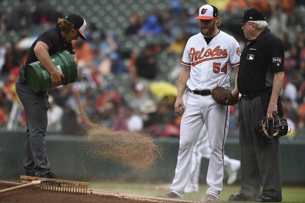 Grounds crew worker, left, applies a drying agent to the pitching mound between innings as Baltimore Orioles pitcher Andrew Cashner and home plate ump