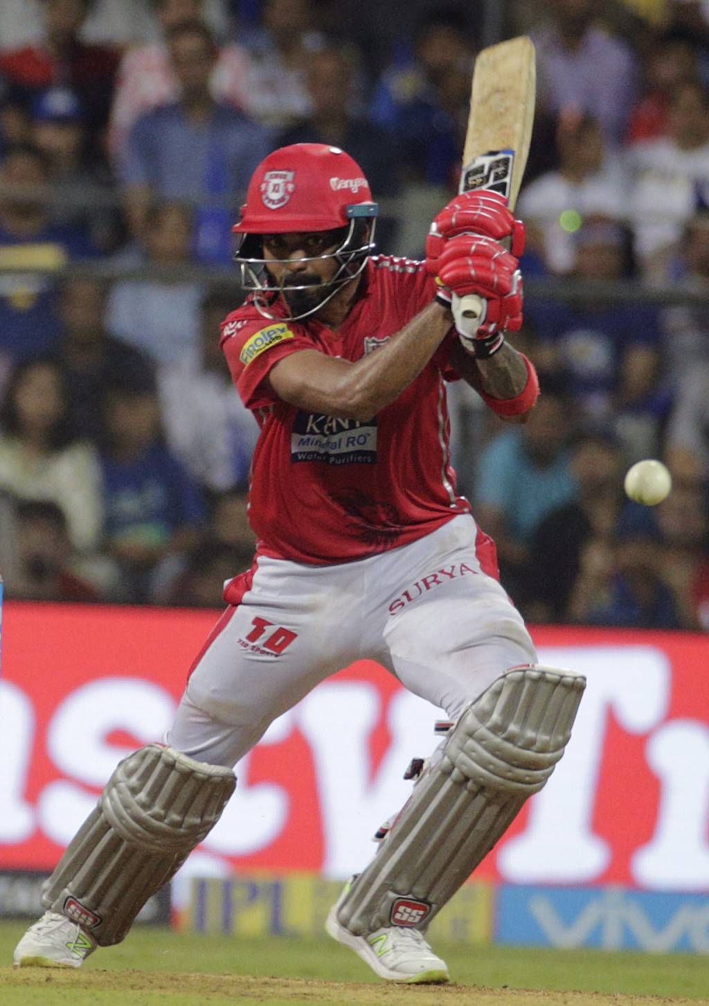 Kings XI Punjab's K.L.Rahul bats during the VIVO IPL cricket T20 match against the Mumbai Indians in Mumbai, India, Wednesday, May 16, 2018 . (AP Phot