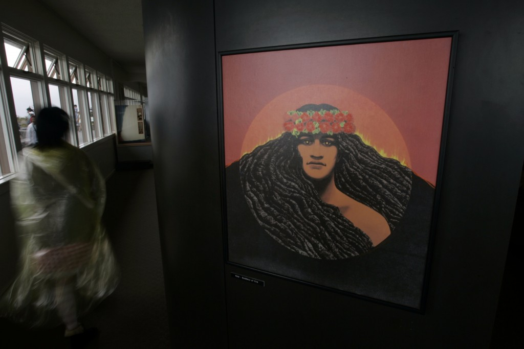 FILE - In this Sept. 10, 2009 file photo, a portrait of volcano deity Pele by famed Hawaiian artist Herb Kawainui Kane is on display at the Jagger Mus